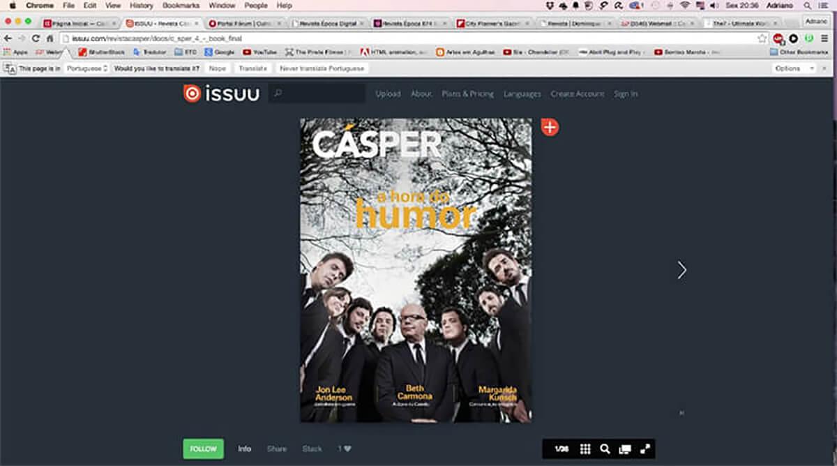 Capa Revista Cásper na plataforma Issuu