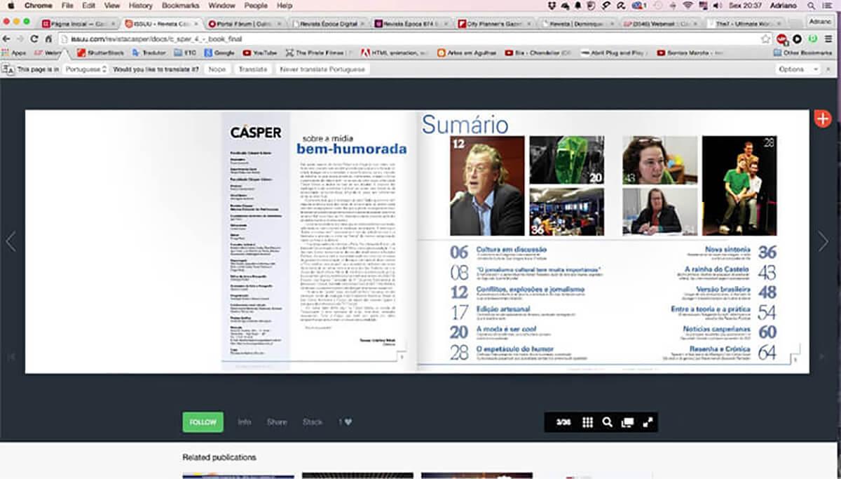 Revista Cásper na plataforma Issuu